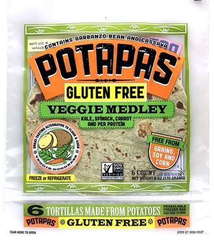 Potapas, Vegetable Medley Tortillas, 6 oz (8 Pack)